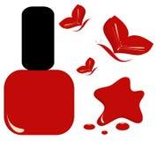 Esmalte de uñas rojo con el ejemplo de la moda de la belleza de la mariposa Imagen de archivo
