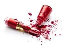 Esmalte de uñas, sombra de ojos y lápiz labial Fotografía de archivo libre de regalías