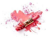 Esmalte de uñas, sombra de ojos y lápiz labial Imagenes de archivo