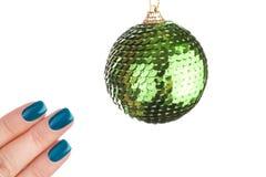 Esmalte de uñas verde Foto de archivo libre de regalías