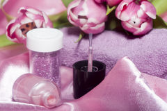 Esmalte de uñas y herramientas para la manicura Foto de archivo libre de regalías