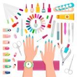 Esmaltes de uñas e instrumentos para el sistema de manicura ilustración del vector