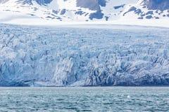 Esmarkbreen冰川冰前面,裂隙,海,斯瓦尔巴特群岛 免版税库存图片