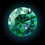 Esmeralda brillante en un fondo negro Cristal verde Vector stock de ilustración