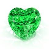 Esmeralda da forma do coração Fotografia de Stock Royalty Free