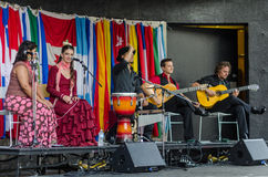 Esmeralda Enrique and her flamenco dance company during the Hispanic Fiesta Stock Images