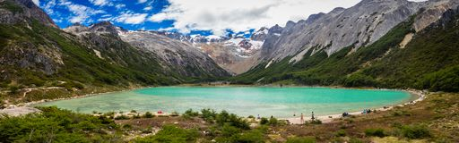 Esmeralda lagoon in Tierra del Fuego Island, Argentina. Near Ushuaia city in Patagonia. Lagoon and mountains panoramic royalty free stock image