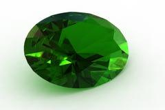Esmeralda oval verde masiva - fotorrealista rinda Fotos de archivo