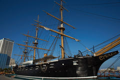 Esmeralda. Replica of the Chilean Navy ship Esmeralda that was sunk at the Battle of Iquique in 1879 during the War of the Pacific between Chile and the combined stock photo