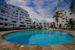 Esmeraldas, Ecuador - March 16, 2016: Beautiful swimming pool with circle form of luxury hotel at Same, Ecuador Royalty Free Stock Photos