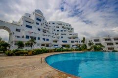 Esmeraldas, Ecuador - March 16, 2016: Beautiful swimming pool with circle form of luxury hotel at Same, Ecuador Royalty Free Stock Photo