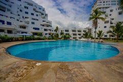 Esmeraldas, Ecuador - March 16, 2016: Beautiful swimming pool with circle form of luxury hotel at Same, Ecuador Stock Images