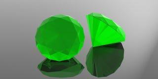 Esmeraldas no fundo cinzento ilustração 3D Fotos de Stock Royalty Free