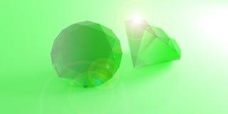 Esmeraldas no fundo verde ilustração 3D Foto de Stock