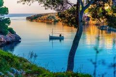 Esmeraldastrand in het eiland van Mallorca stock foto