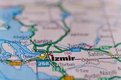 Esmirna en mapa Imagen de archivo libre de regalías