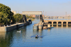 Esna ship locks in Egypt Stock Photos