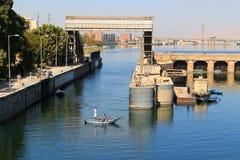 Esna ship locks in Egypt Stock Photo
