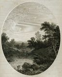Esopus Creek Near the Hudson Antique Illustration. Esopus Creek is a long tributary of the Hudson River this landscape is depicted in this engraving circa 1862 stock illustration