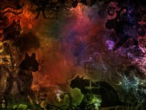 Esoteric magic background with black cats shapes Stock Photo