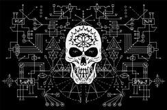 Evil skull against sacred black and white geometry background Royalty Free Illustration