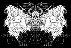 White demon with sacred geometry signs on wings against black mystic background Vector Illustration