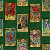 Seamless background with layout of colorful Tarot cards. Esoteric and occult illustrations, wicca and pagan concept royalty free illustration