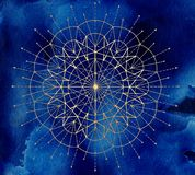 Golden round circle compass on blue textured background. Esoteric, occult, new age and wicca concept, fantasy pattern with mystic symbols and sacred geometry royalty free illustration