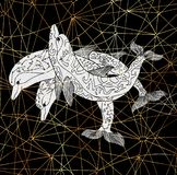 Three decorated dolphins on black background with lines. Esoteric, occult, new age and wicca concept, fantasy pattern with mystic symbols and sacred geometry stock illustration