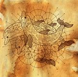 Three dolphins and round circle pattern on old paper textured background. Esoteric, occult, new age and wicca concept, fantasy pattern with mystic symbols and stock illustration