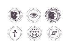 Esoteric symbols vector illustration. Stock Photography