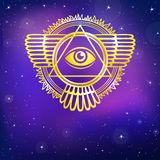 Esoteric winged sign of a pyramid. Disk of the sun. Gold imitation. Vector illustration, background - the night star sky Stock Image