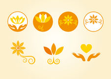 Esoterically decorated flowers. Orange flowers in the logo. Floral esoteric elements. Series orange flowers. Flower logo. Set of icons. Yellow icons. Decorative Royalty Free Stock Images