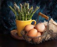 Espárrago y huevos Foto de archivo