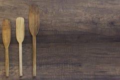 Espátula de madera de la visión superior, paleta de cocinar de madera del topview Foto de archivo libre de regalías