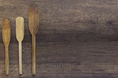 Espátula de madera de la visión superior, paleta de cocinar de madera del topview Imagen de archivo