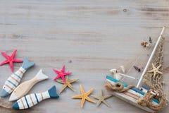 Espèce marine avec des coquillages, des étoiles de mer et le bateau avec l'espace de copie Images stock