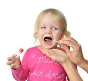 Espécime biológico da amostra médica de Salvia da criança mo do bebê da criança imagens de stock royalty free