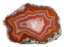 Espécime lustrado da ágata com um centro do geode de quartzo fotos de stock