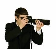 Espía del agente secreto con la cámara Fotos de archivo libres de regalías