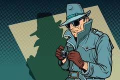 Espía detective, sombra ilustración del vector