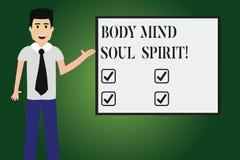 Espírito conceptual da alma da mente do corpo da exibição da escrita da mão Espiritual emocional do equilíbrio do estilo de vida  ilustração stock
