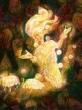 Espírito feericamente brilhante mágico na moradia da floresta que faz luzes de flutuação ilustração royalty free