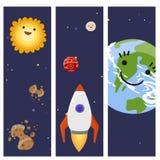 Espaçado a ilustração futura do vetor de canela do foguete do navio de espaço da exploração do projeto de cartões da nave espacia Foto de Stock Royalty Free