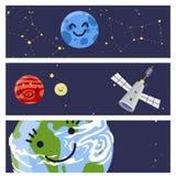 Espaçado a ilustração futura do vetor de canela do foguete do navio de espaço da exploração do projeto de cartões da nave espacia Fotografia de Stock