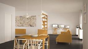 Espaço aberto da sala de visitas minimalista nórdica com mesa de jantar, sofá, escritório de canto, local de trabalho home com co ilustração royalty free