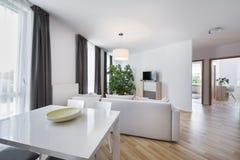 Espaço aberto, sala de visitas moderna do design de interiores Fotografia de Stock Royalty Free