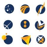Espaço & vôos do projeto do logotipo   ilustração stock