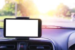 Espaço branco vazio no telefone esperto móvel usando-se para o navegador de GPS fotos de stock