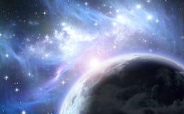 Espaço com planeta e estrelas Fotos de Stock